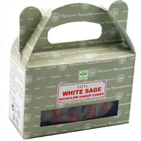 Satya Backflow Incense Cones, White Sage