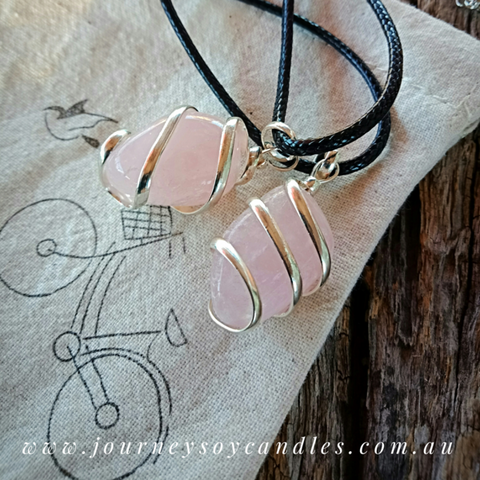 Rose Quartz Pendant - Wear Rose Quartz near your heart every day - JOURNEY artisan soaps & candles