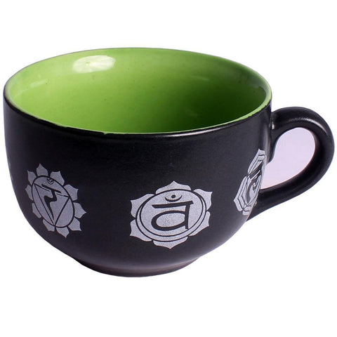 Large Hand Painted Chakra Mug with Auspicious 7 Chakra Symbols in Red & Black - JOURNEY artisan soaps & candles