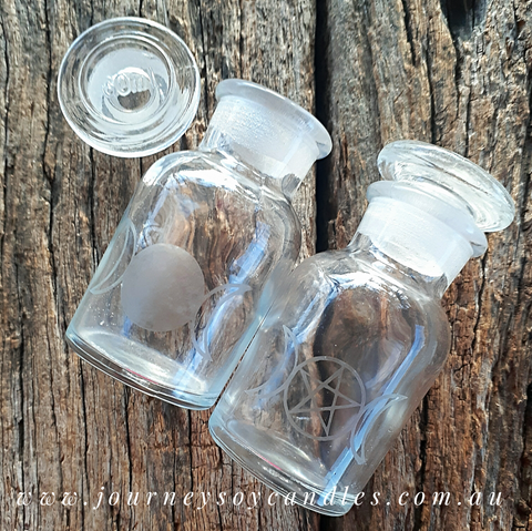 Etched Glassware, Mini Apothecary Jar