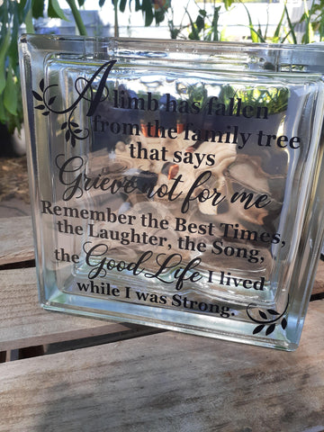 JOURNEY Life Celebration Glass Brick - Celebrate life & love