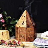 Wooden Spire Top Incense Burner with FREE Incense