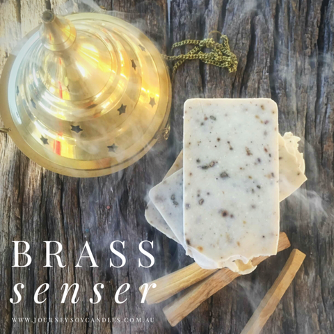 Large Brass Senser - Traditionally used for burning resins & herbs - JOURNEY artisan soaps & candles