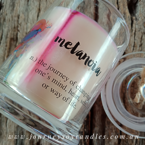 Gina Soy Candle - finished with our signature quotes - JOURNEY artisan soaps & candles