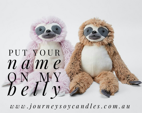 Personalised Sloths - A JOURNEY Personalised Plushy - JOURNEY artisan soaps & candles