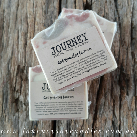 Bare Essentials - Organic Hempseed & Avocado Oil with Bentonite & Australian Pink Clays - JOURNEY artisan soaps & candles