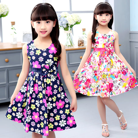 391f4c8f844 Summer Dresses For Girls A-Line Print Floral Girls Dresses O-Neck Bohemian  Kids