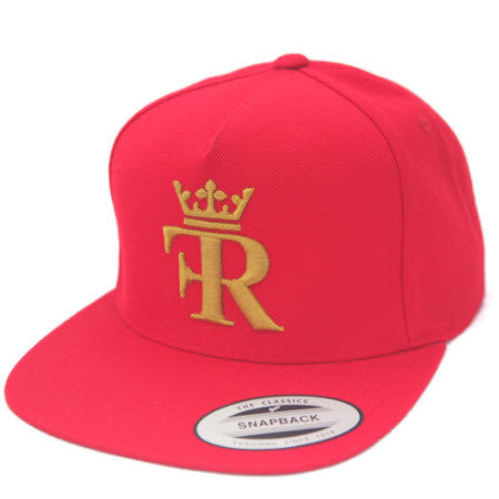RED FLAT BILL HAT WITH GOLD FEEL RICH LOGO