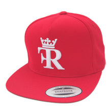 RED FLAT BILL HAT WITH WHITE FEEL RICH LOGO