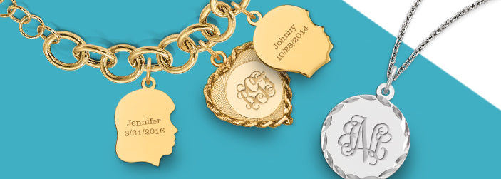 Personalized Engraved Monogram Timeless Classic Pendants and Charms