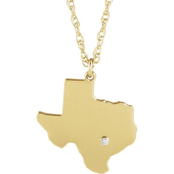 14k 10k Yellow Rose White Gold Diamond Silver Texas TX State Map Personalized City Necklace