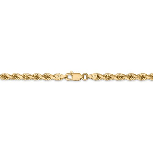 14K Solid Yellow Gold 4mm Diamond Cut Rope Bracelet Anklet Choker Necklace Pendant Chain