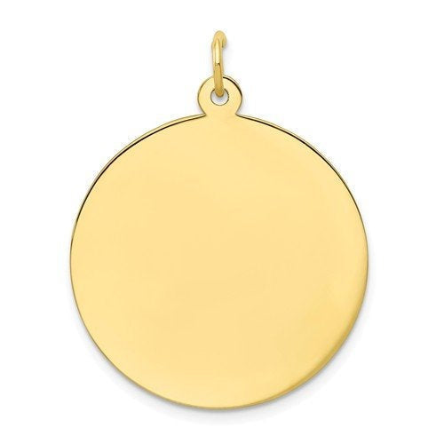 10k Yellow Gold 24mm Round Circle Disc Pendant Charm Personalized Monogram Engraved