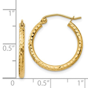 14k Yellow Gold Diamond Cut Classic Round Hoop Earrings 20mm x 2mm