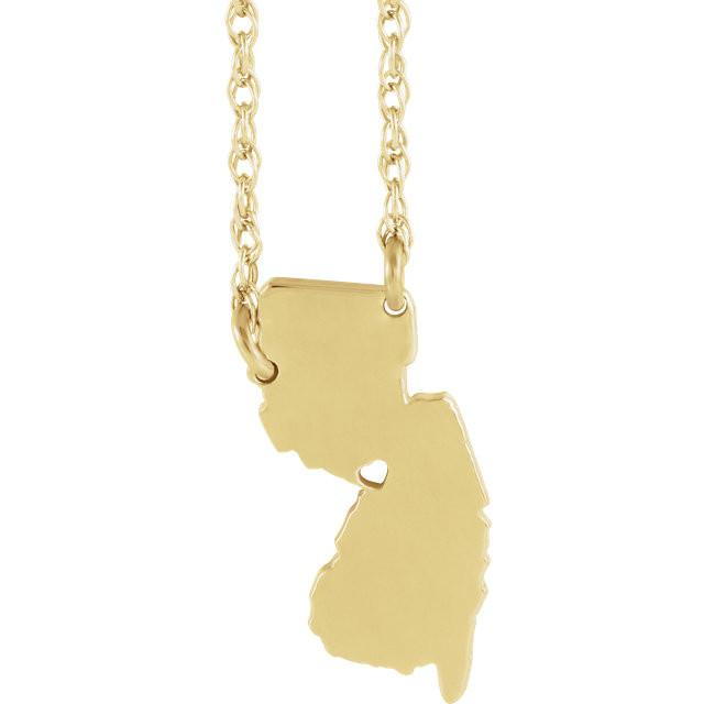 14k Gold 10k Gold Silver New Jersey NJ State Map Necklace Heart Personalized City