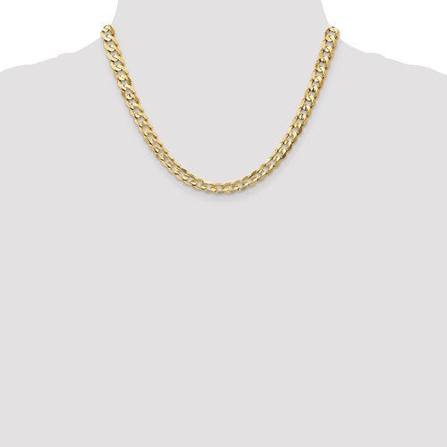 14K Yellow Gold 6.75mm Open Concave Curb Bracelet Anklet Choker Necklace Pendant Chain