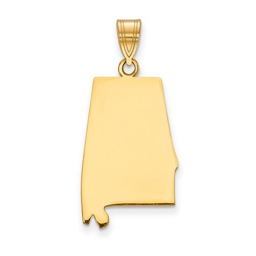 14K Gold or Sterling Silver Alabama  AL State Pendant Charm Personalized Monogram