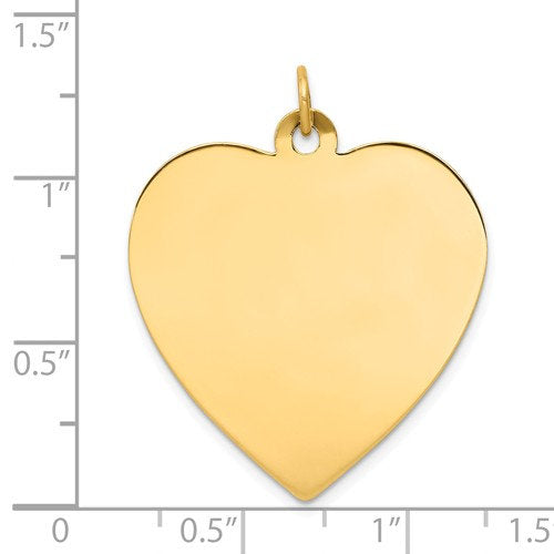 14k Yellow Gold 27mm Heart Disc Pendant Charm Personalized Monogram Engraved