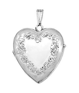 14K White Gold 20mm Floral Heart Photo Locket Pendant Charm Engraved Personalized Monogram