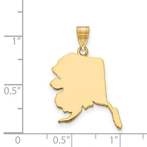 14K Gold or Sterling Silver Alaska AK State Pendant Charm Personalized Monogram