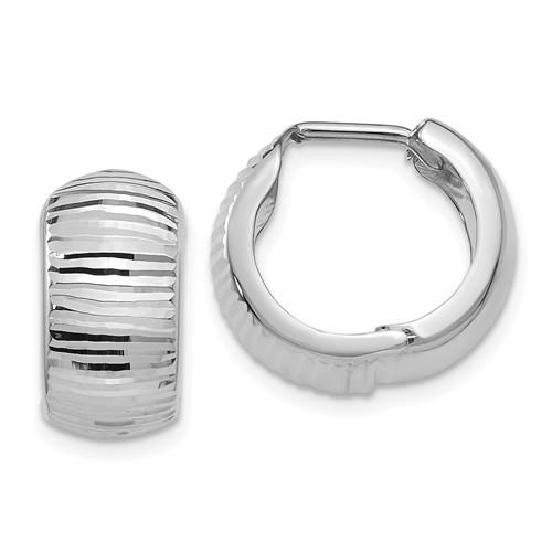 14k White Gold Textured Huggie Hinged Hoop Earrings 15mm x 15mm x 7mm