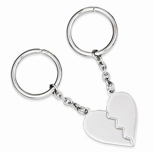 Engravable Sterling Silver Heart Two Piece Key Holder Ring Keychain Personalized Engraved