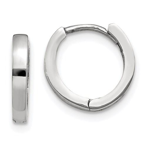14k White Gold Classic Huggie Hinged Hoop Earrings 11mm x 2mm