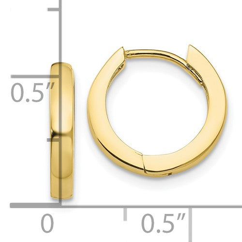 10k Yellow Gold Classic Huggie Hinged Hoop Earrings 14mm x 14mm x 2mm