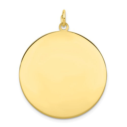 10k Yellow Gold 26mm Round Circle Disc Pendant Charm Personalized Monogram Engraved