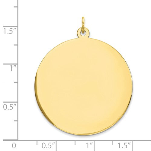 10k Yellow Gold 31mm Round Circle Disc Pendant Charm Personalized Monogram Engraved