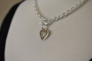 Sterling Silver Heavyweight Heart Tag Charm Toggle Necklace or Bracelet Custom Engraved Personalized Monogram