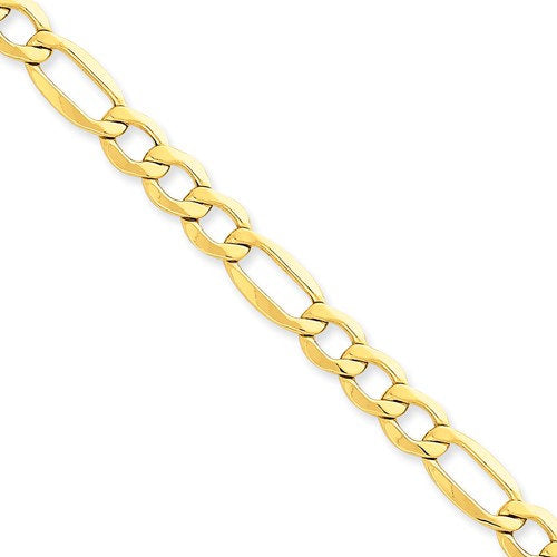 14K Yellow Gold 7.3mm Lightweight Bracelet Anklet Choker Necklace Pendant Chain