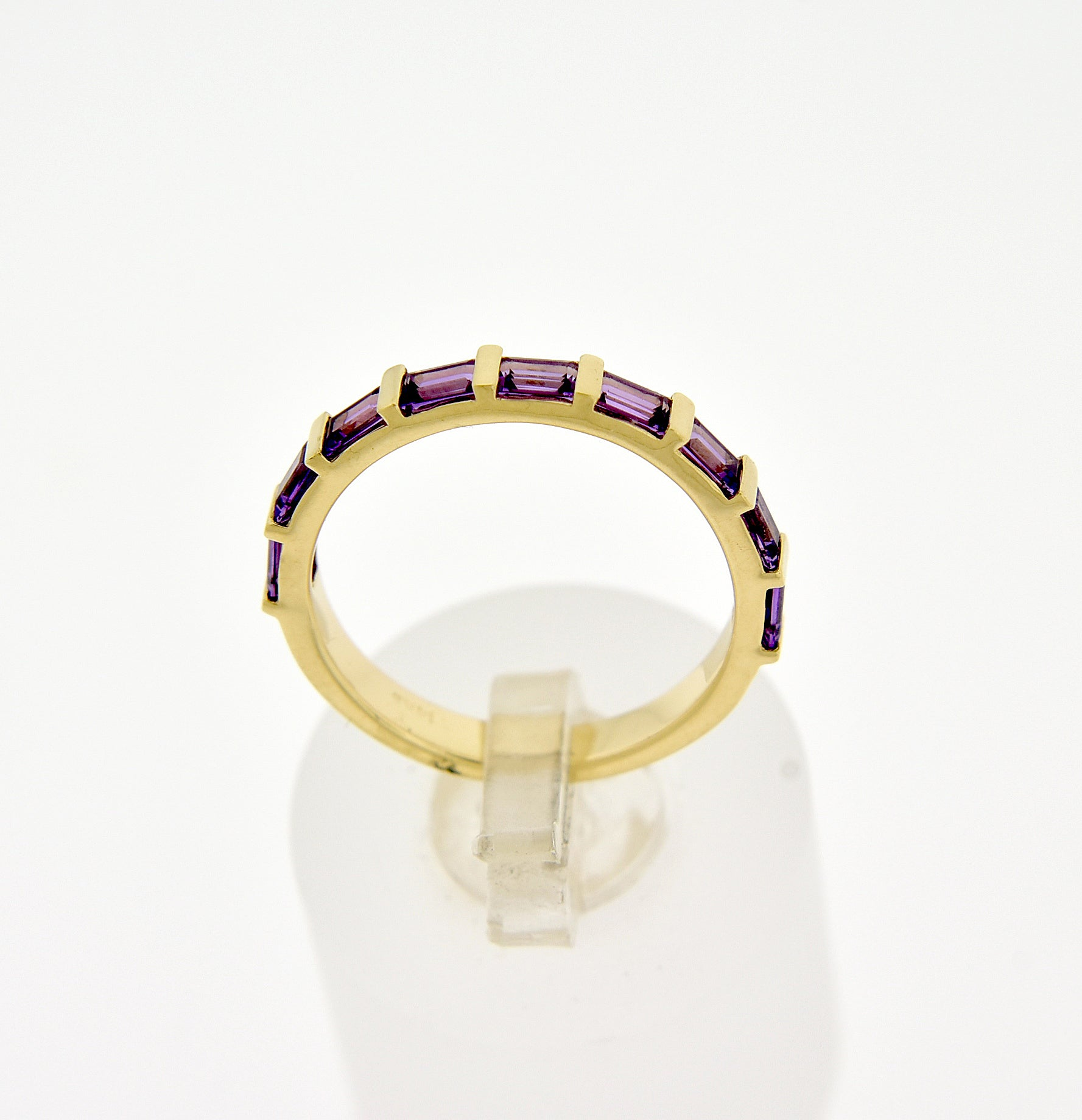 14k Yellow White Rose Gold Genuine 3x2mm Amethyst Baguette Wedding Anniversary Promise Band Ring