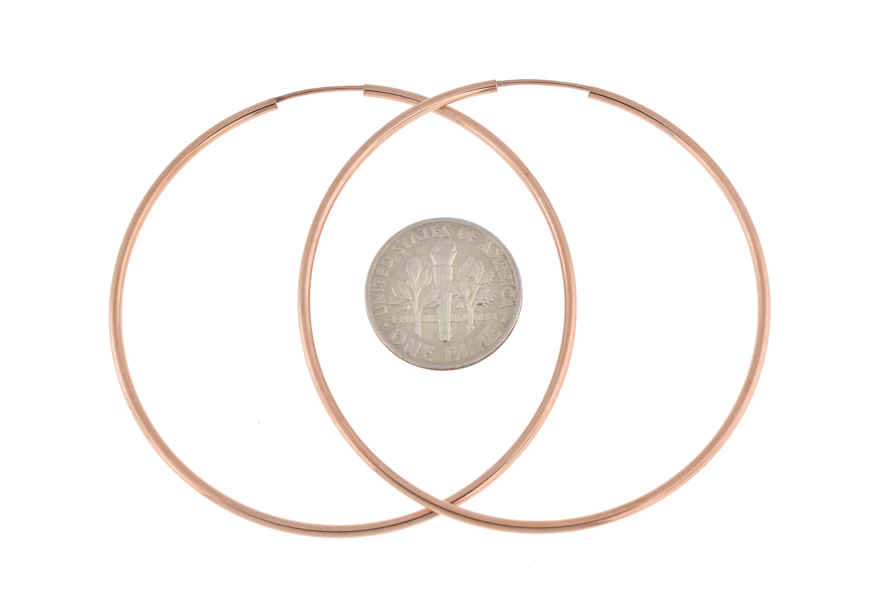 14k Rose Gold Classic Endless Round Hoop Earrings 50mm x 1.5mm