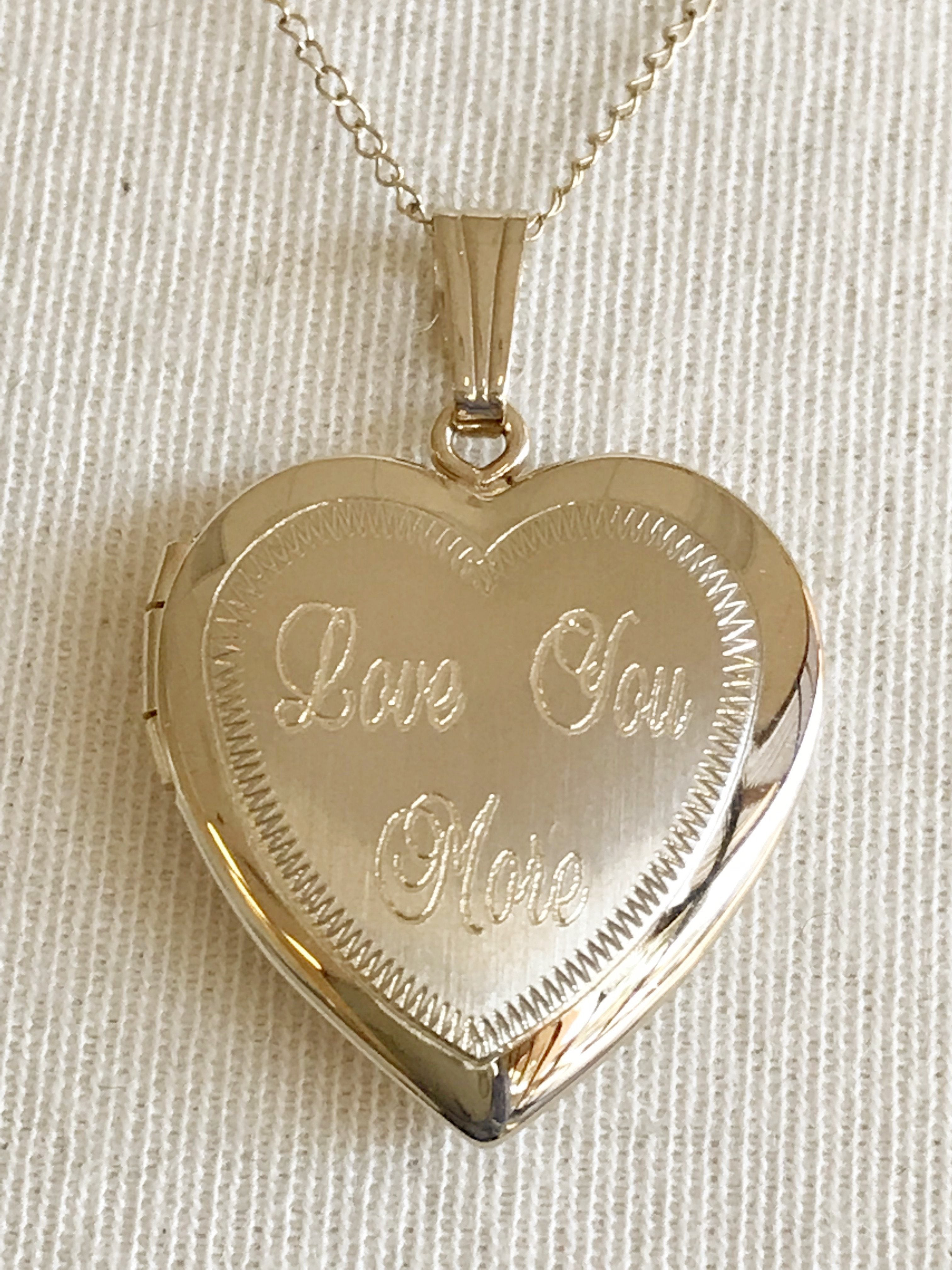 14k Yellow Gold 19mm Heart Embossed Locket Pendant Charm Engraved Personalized Monogram