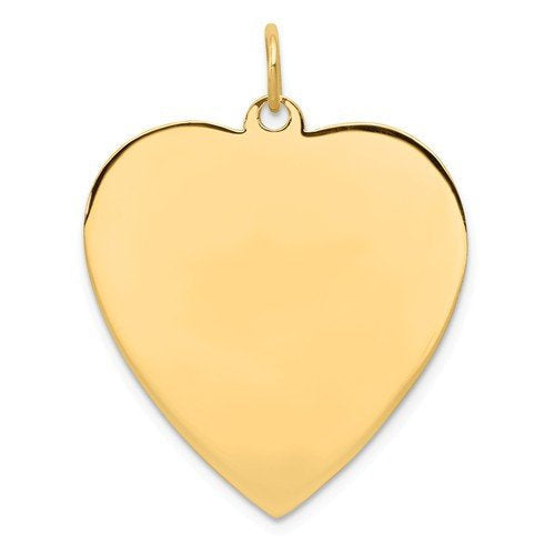 14k Yellow Gold 24mm Heart Disc Pendant Charm Personalized Monogram Engraved