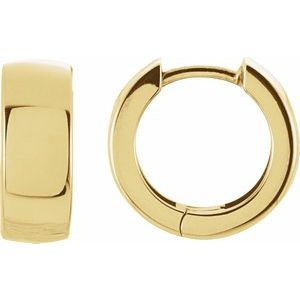 14k Yellow Gold Polished Huggie Hinged Hoop Earrings 14mm x 5mm