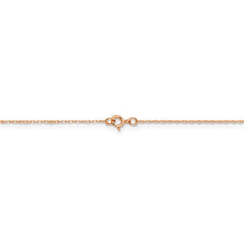 14k Rose Gold 0.5mm Cable Rope Thin Dainty Choker Necklace Pendant Chain