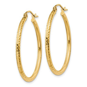 14k Yellow Gold Diamond Cut Classic Round Hoop Earrings 30mm x 2mm