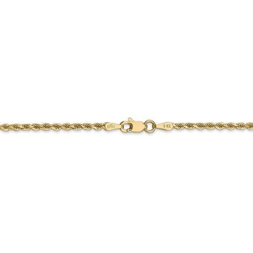14K Solid Yellow Gold 2mm Diamond Cut Rope Bracelet Anklet Choker Necklace Pendant Chain