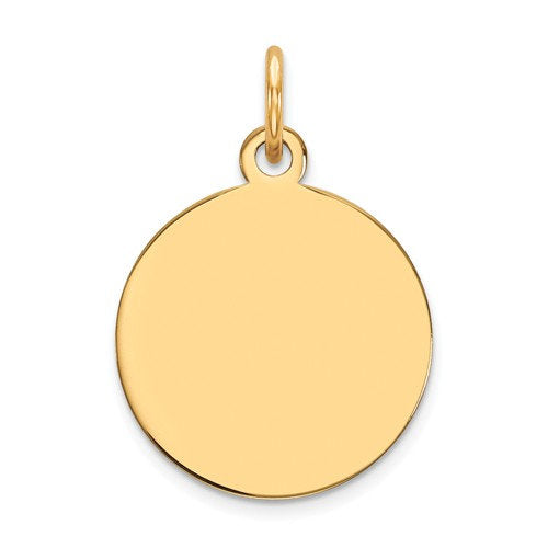 14K Solid Yellow Gold Heart Disc Pendant Charm Letter Initial Engraved Personalized  Bridal Wedding Maid Honor Bridesmaids Gift