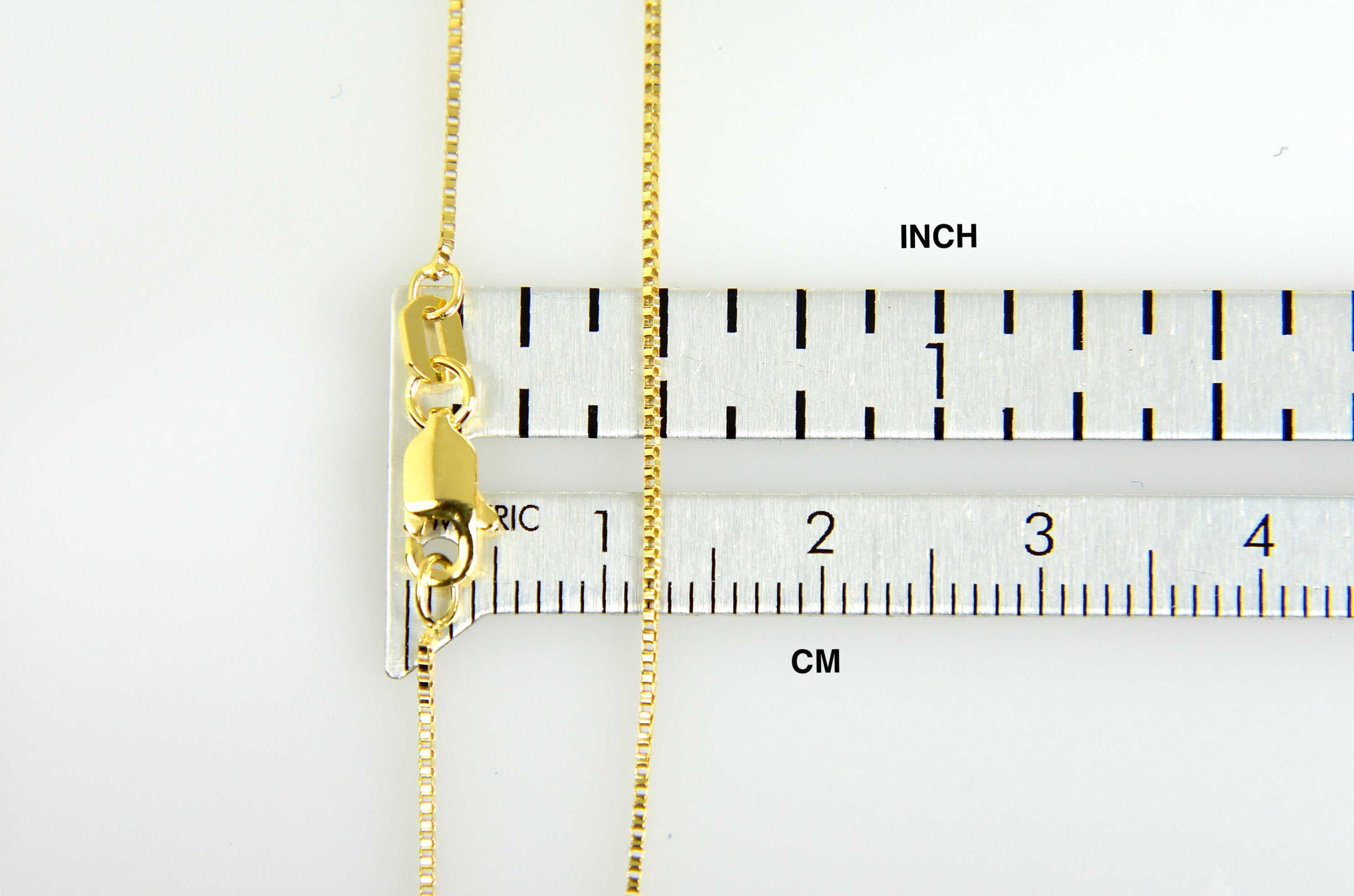 14K Yellow Gold 0.7mm Box Bracelet Anklet Choker Necklace Pendant Chain