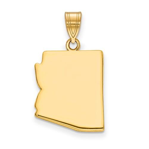 14K Gold or Sterling Silver Arizona AZ State Pendant Charm Personalized Monogram