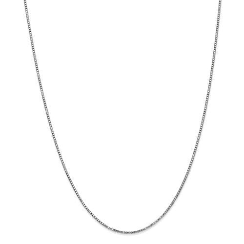10k White Gold 1.25mm Polished Box Choker Necklace Pendant Chain