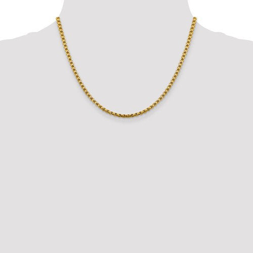 14K Yellow Gold 3.60mm Round Box Bracelet Anklet Choker Necklace Pendant Chain Lobster Clasp