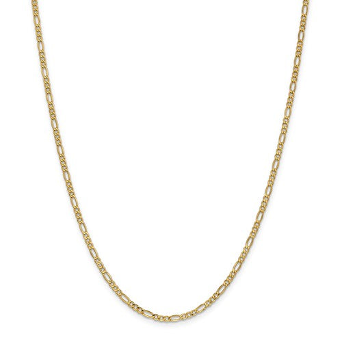 14K Yellow Gold 2.5mm Lightweight Figaro Bracelet Anklet Choker Necklace Chain
