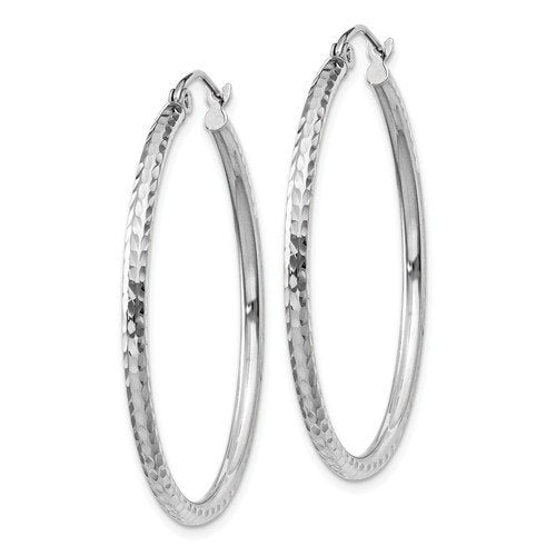 14k White Gold Diamond Cut Round Hoop Earrings 35mm x 2mm
