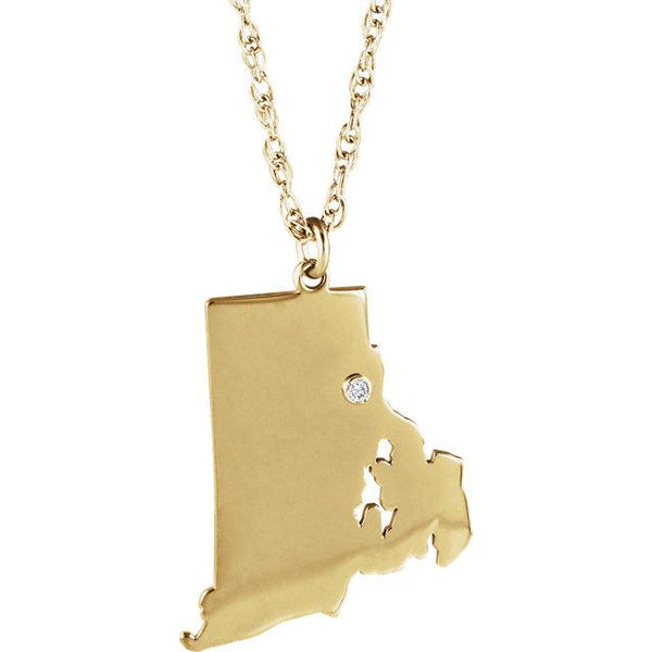 14k 10k Yellow Rose White Gold Diamond Silver Rhode Island RI State Map Personalized City Necklace