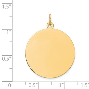 10k Yellow Gold 23mm Round Circle Disc Pendant Charm Personalized Monogram Engraved