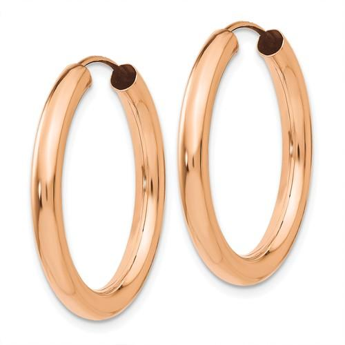 14k Rose Gold Classic Endless Round Hoop Earrings 24mm x 2.75mm